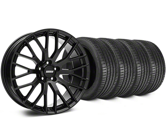 Staggered Performance Pack Style Black Wheel & Michelin Pilot Super Sport Tire Kit - 19 in. - 2 Rear Options (05-14 All)