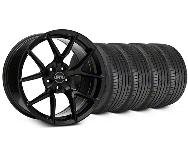 Staggered RTR Tech 5 Black Wheel & Michelin Pilot Super Sport Tire Kit - 19 in. - 2 Rear Options (05-14 All)