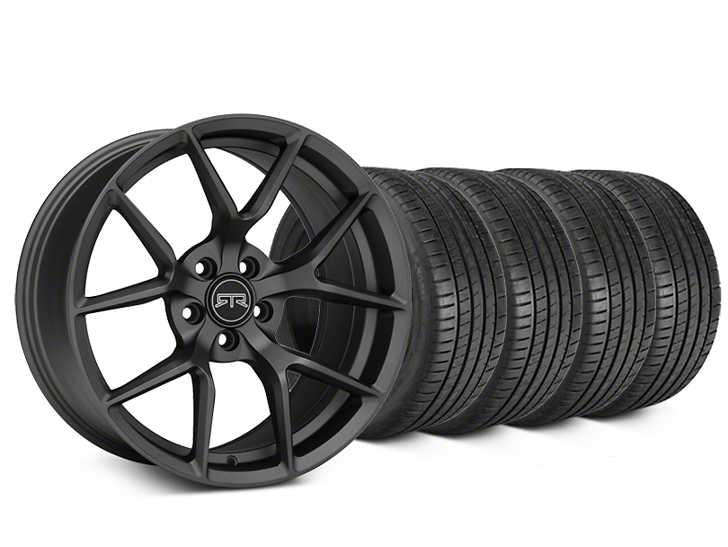 Staggered RTR Tech 5 Charcoal Wheel & Michelin Pilot Super Sport Tire Kit - 19 in. - 2 Rear Options (05-14 All)