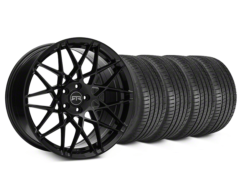 Staggered RTR Tech Mesh Black Wheel & Michelin Pilot Super Sport Tire Kit - 19 in. - 2 Rear Options (05-14 All)