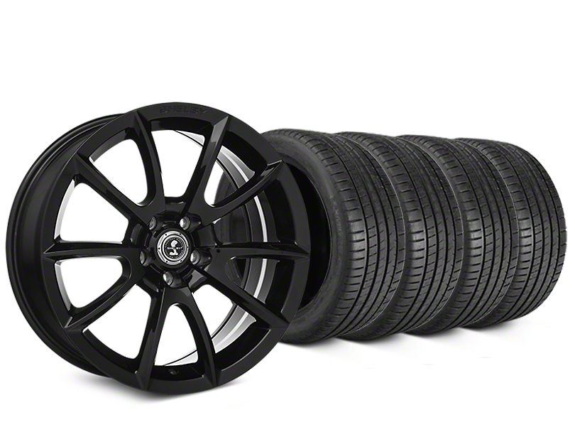 Staggered Shelby Super Snake Style Black Wheel & Michelin Pilot Super Sport Tire Kit - 19 in. - 2 Rear Options (05-14 All)