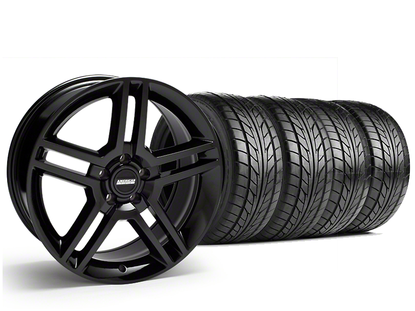 Staggered 2010 GT500 Style Black Wheel & NITTO NT555 G2 Tire Kit - 19 in. - 3 Rear Options (15-17 All)
