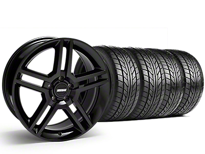 Staggered 2010 GT500 Style Black Wheel & NITTO NT555 G2 Tire Kit - 19 in. - 3 Rear Options (15-18 GT, EcoBoost, V6)