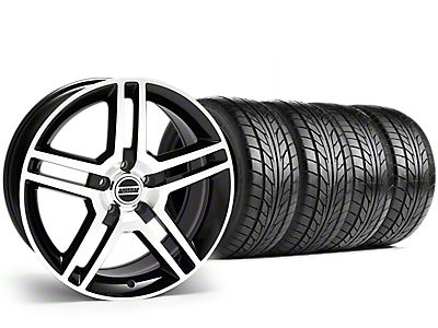 Staggered 2010 GT500 Style Black Machined Wheel & NITTO NT555 G2 Tire Kit - 19x8.5/10 (15-18 GT, EcoBoost, V6)