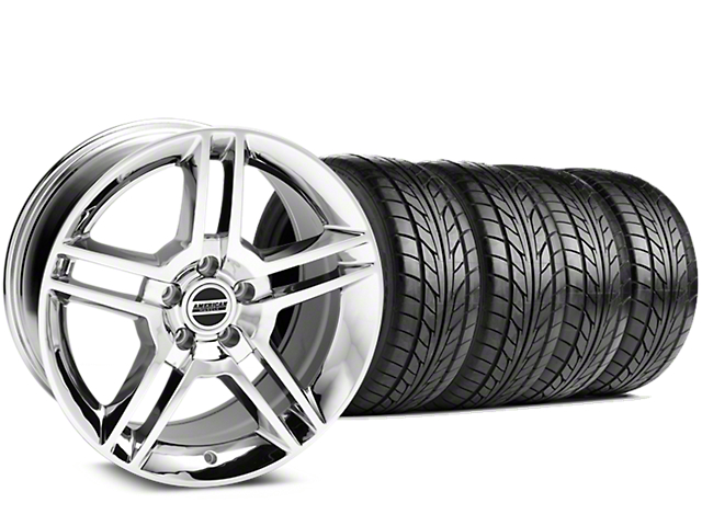 Staggered 2010 GT500 Style Chrome Wheel & NITTO NT555 G2 Tire Kit - 19x8.5/10 (15-19 GT, EcoBoost, V6)