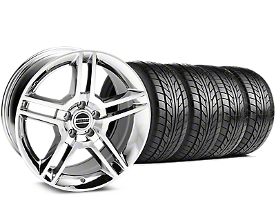 Staggered 2010 GT500 Style Chrome Wheel & NITTO NT555 G2 Tire Kit - 19 in. - 3 Rear Options (15-18 GT, EcoBoost, V6)