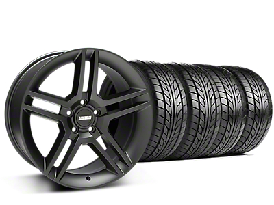 Staggered 2010 GT500 Style Matte Black Wheel & NITTO NT555 G2 Tire Kit - 19 in. - 3 Rear Options (15-18 GT, EcoBoost, V6)