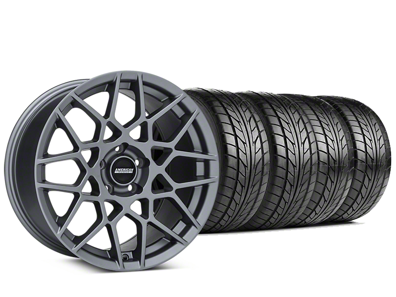 Staggered 2013 GT500 Style Charcoal Wheel & NITTO NT555 G2 Tire Kit - 19 in. - 3 Rear Options (15-17 V6, EcoBoost)