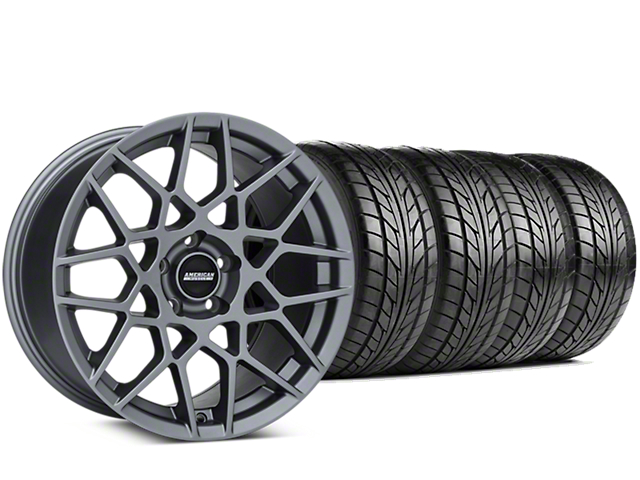 Staggered 2013 GT500 Style Charcoal Wheel & NITTO NT555 G2 Tire Kit - 19 in. - 3 Rear Options (15-17 GT, EcoBoost, V6)