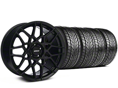 Staggered 2013 GT500 Style Gloss Black Wheel & NITTO NT555 G2 Tire Kit - 19 in. - 3 Rear Options (15-18 GT, EcoBoost, V6)