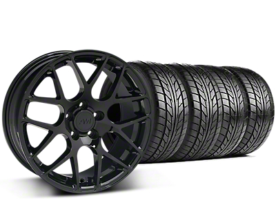 Staggered AMR Black Wheel & NITTO NT555 G2 Tire Kit - 19 in. - 3 Rear Options (15-18 GT, EcoBoost, V6)