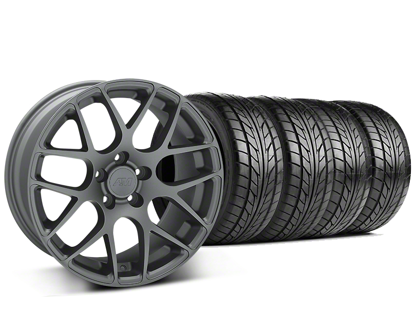 Staggered AMR Charcoal Wheel & NITTO NT555 G2 Tire Kit - 19 in. - 3 Rear Options (15-18 All)