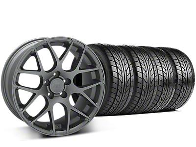 Staggered AMR Charcoal Wheel & NITTO NT555 G2 Tire Kit - 19 in. - 3 Rear Options (15-18 GT, EcoBoost, V6)