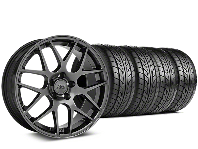 Staggered AMR Dark Stainless Wheel & NITTO NT555 G2 Tire Kit - 19 in. - 3 Rear Options (15-17 All)