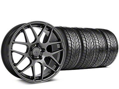 Staggered AMR Dark Stainless Wheel & NITTO NT555 G2 Tire Kit - 19x8.5/11 (15-18 GT, EcoBoost, V6)