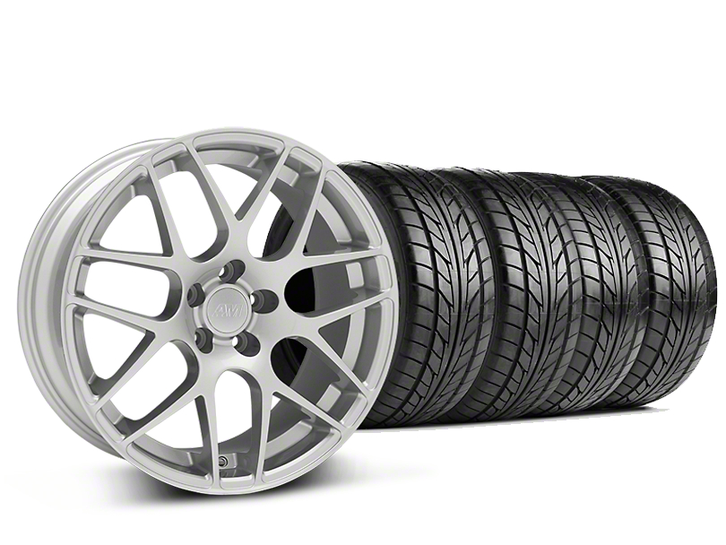 Staggered AMR Silver Wheel & NITTO NT555 G2 Tire Kit - 19 in. - 3 Rear Options (15-17 All)