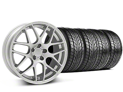 Staggered AMR Silver Wheel & NITTO NT555 G2 Tire Kit - 19 in. - 3 Rear Options (15-18 GT, EcoBoost, V6)