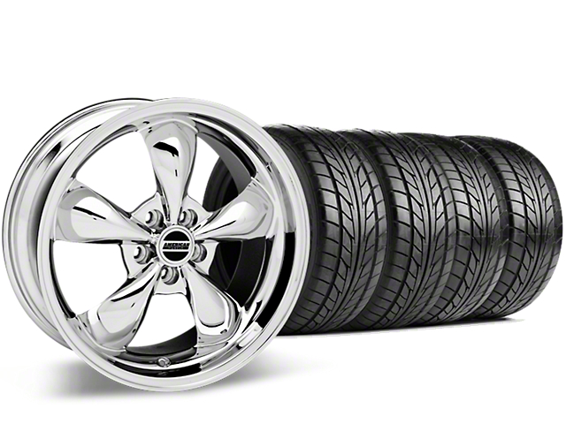 Staggered Bullitt Chrome Wheel and NITTO NT555 G2 Tire Kit; 19x8.5/10 (15-20 EcoBoost, V6)
