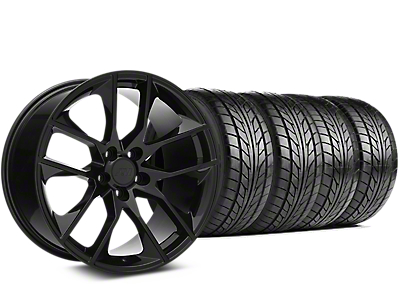 Staggered Magnetic Style Black Wheel & NITTO NT555 G2 Tire Kit - 19 in. - 3 Rear Options (15-18 GT, EcoBoost, V6)