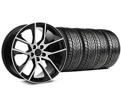 Staggered Magnetic Style Black Machined Wheel & NITTO NT555 G2 Tire Kit - 19x8.5/10 (15-18 GT, EcoBoost, V6)
