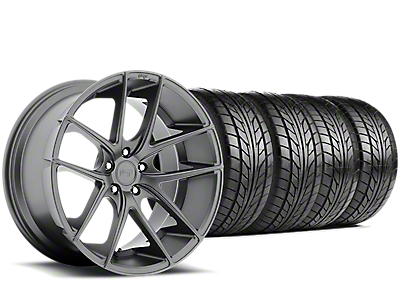 Staggered Niche Targa Matte Anthracite Wheel & NITTO NT555 G2 Tire Kit - 19 in. - 3 Rear Options (15-18 GT, EcoBoost, V6)