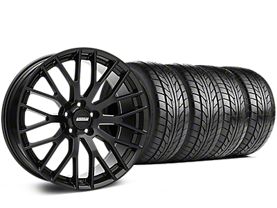Staggered Performance Pack Style Black Wheel & NITTO NT555 G2 Tire Kit - 19 in. - 3 Rear Options (15-18 GT, EcoBoost, V6)