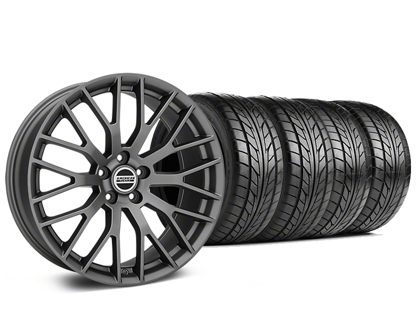 Staggered Performance Pack Style Charcoal Wheel & NITTO NT555 G2 Tire Kit - 19x8.5/10 (15-19 GT, EcoBoost, V6)