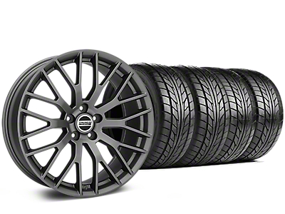 Staggered Performance Pack Style Charcoal Wheel & NITTO NT555 G2 Tire Kit - 19x8.5/10 (15-18 GT, EcoBoost, V6)