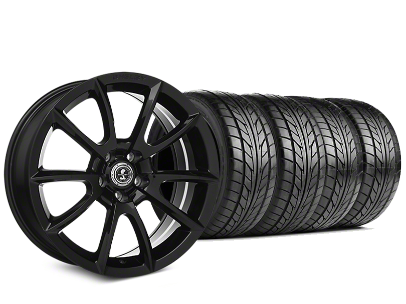 Staggered Shelby Super Snake Style Black Wheel & NITTO NT555 G2 Tire Kit - 19 in. - 3 Rear Options (15-18 All)