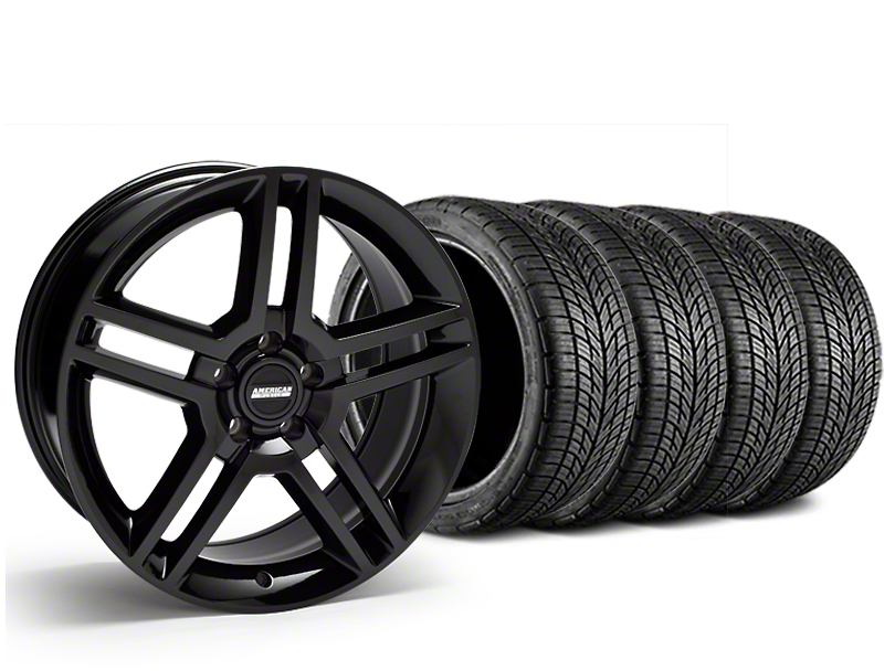 Staggered 2010 GT500 Style Black Wheel & BF Goodrich G-FORCE COMP 2 Tire Kit - 19x8.5/10 (15-19 All)