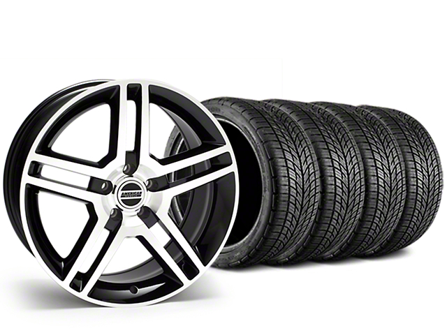 Staggered 2010 GT500 Style Black Machined Wheel & BF Goodrich G-FORCE COMP 2 Tire Kit - 19x8.5/10 (15-18 GT, EcoBoost, V6)