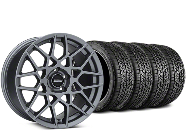 Staggered 2013 GT500 Style Charcoal Wheel & BF Goodrich G-FORCE COMP 2 Tire Kit - 19x8.5/10 (15-17 V6 and EcoBoost)