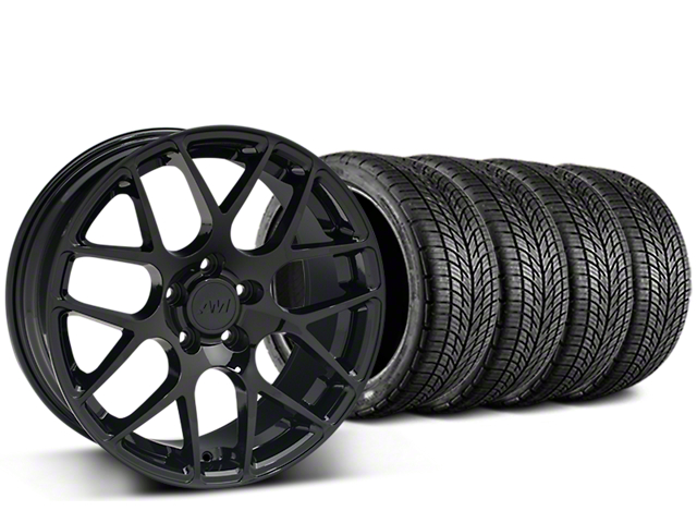 Staggered AMR Black Wheel & BF Goodrich G-FORCE COMP 2 Tire Kit - 19x8.5/11 (15-17 All)
