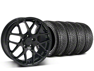 Staggered AMR Black Wheel & BF Goodrich G-FORCE COMP 2 Tire Kit - 19x8.5/11 (15-18 All)