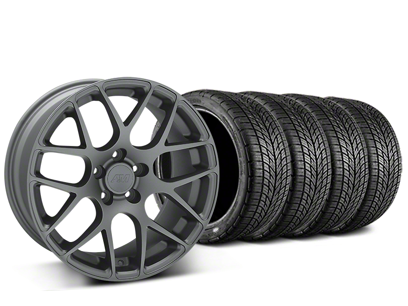 Staggered AMR Charcoal Wheel & BF Goodrich G-FORCE COMP 2 Tire Kit - 19x8.5/11 (15-19 GT, EcoBoost, V6)