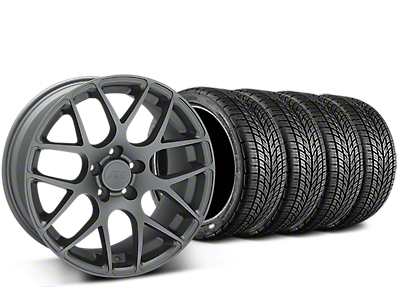 Staggered AMR Charcoal Wheel & BF Goodrich G-FORCE COMP 2 Tire Kit - 19x8.5/11 (15-18 GT, EcoBoost, V6)