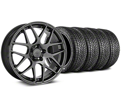Staggered AMR Dark Stainless Wheel & BF Goodrich G-FORCE COMP 2 Tire Kit - 19x8.5/11 (15-17 GT, EcoBoost, V6)