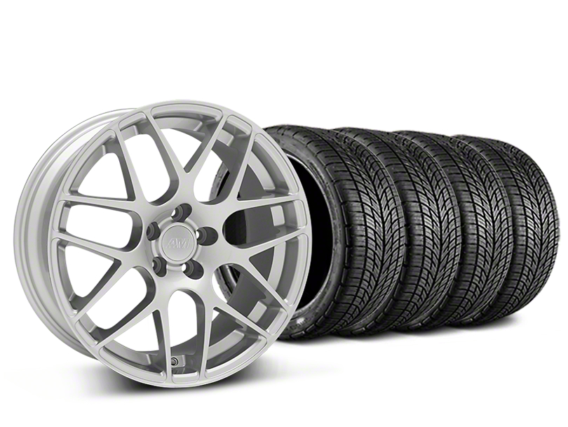 Staggered AMR Silver Wheel & BF Goodrich G-FORCE COMP 2 Tire Kit - 19x8.5/11 (15-17 V6, GT, and EcoBoost)
