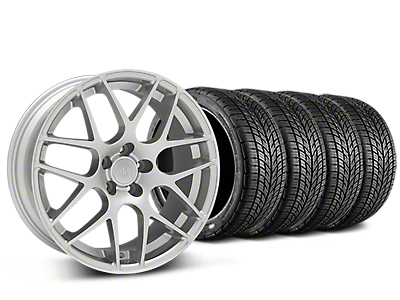 Staggered AMR Silver Wheel & BF Goodrich G-FORCE COMP 2 Tire Kit - 19x8.5/11 (15-19 GT, EcoBoost, V6)