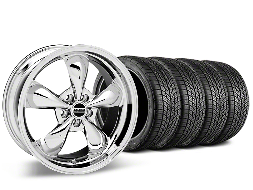 Staggered Bullitt Chrome Wheel & BF Goodrich G-FORCE COMP 2 Tire Kit - 19x8.5/10 (15-17 EcoBoost, V6)