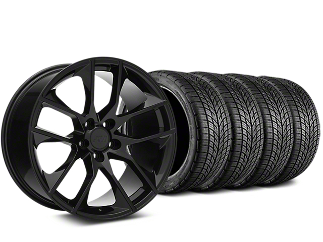 Staggered Magnetic Style Black Wheel & BF Goodrich G-FORCE COMP 2 Tire Kit - 19x8.5/10 (15-19 GT, EcoBoost, V6)