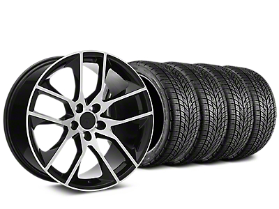Staggered Magnetic Style Black Machined Wheel & BF Goodrich G-FORCE COMP 2 Tire Kit - 19x8.5/10 (15-18 V6, GT, and EcoBoost)