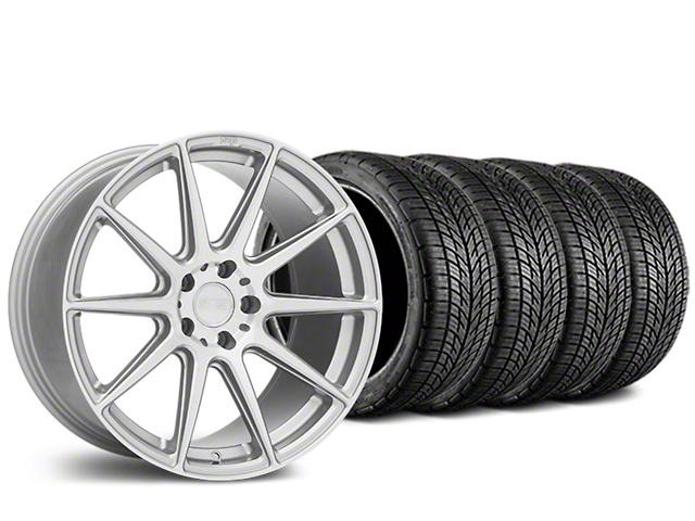Staggered Niche Essen Silver Wheel & BF Goodrich G-FORCE COMP 2 Tire Kit - 19x8.5/10 (15-19 GT, EcoBoost, V6)