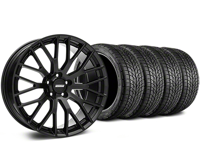 Staggered Performance Pack Style Black Wheel & BF Goodrich G-FORCE COMP 2 Tire Kit - 19x8.5/10 (15-17 V6, GT, and EcoBoost)