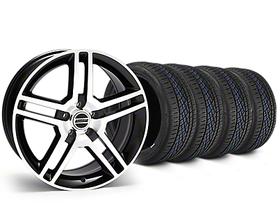 Staggered 2010 GT500 Style Black Machined Wheel & Continental Extreme Contact DWS06 Tire Kit - 19x8.5/10 (15-19 All)