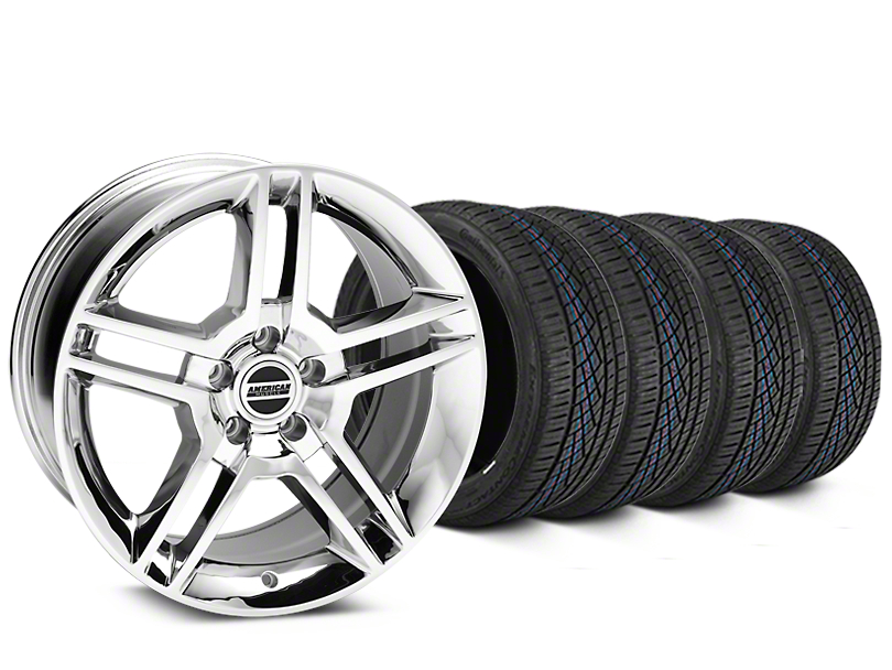 Staggered 2010 GT500 Style Chrome Wheel and Continental Extreme Contact DWS06 Tire Kit; 19x8.5/10 (15-20 GT, EcoBoost, V6)