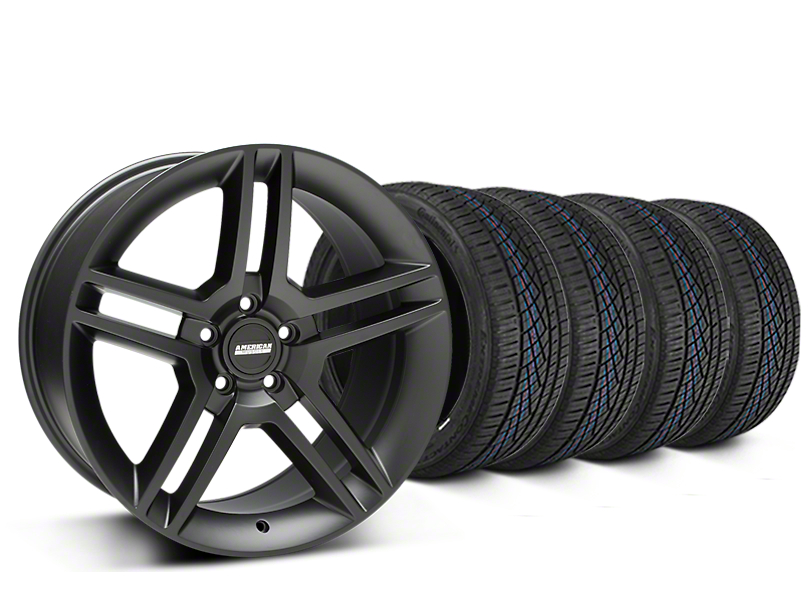 Staggered 2010 GT500 Style Matte Black Wheel & Continental Extreme Contact DWS06 Tire Kit - 19x8.5/10 (15-18 All)