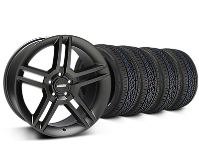 Staggered 2010 GT500 Style Matte Black Wheel & Continental Extreme Contact DWS06 Tire Kit - 19x8.5/10 (15-19 All)