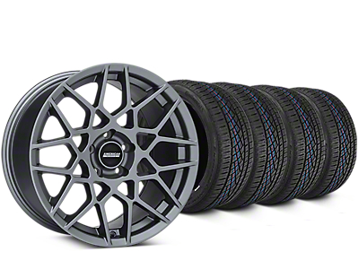 Staggered 2013 GT500 Style Charcoal Wheel & Continental Extreme Contact DWS06 Tire Kit - 19x8.5/10 (15-18 GT, EcoBoost, V6)