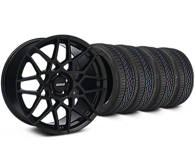 Staggered 2013 GT500 Style Gloss Black Wheel & Continental Extreme Contact DWS06 Tire Kit - 19x8.5/10 (15-17 All)